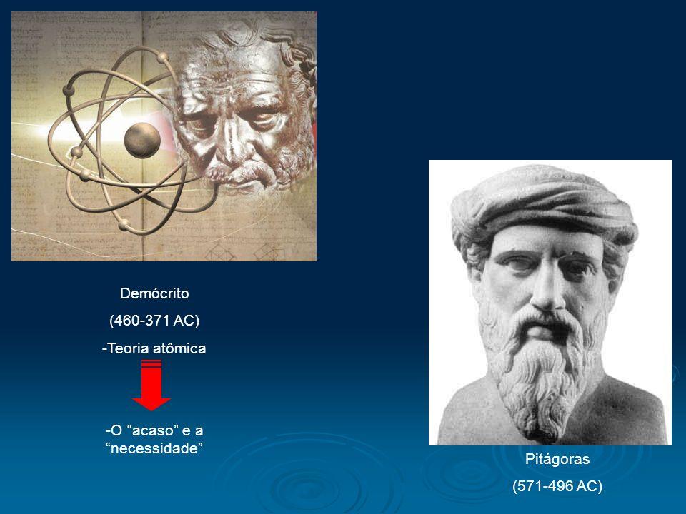 Demócrito (460-371 AC) -Teoria atômica -O acaso e a necessidade Pitágoras (571-496 AC)