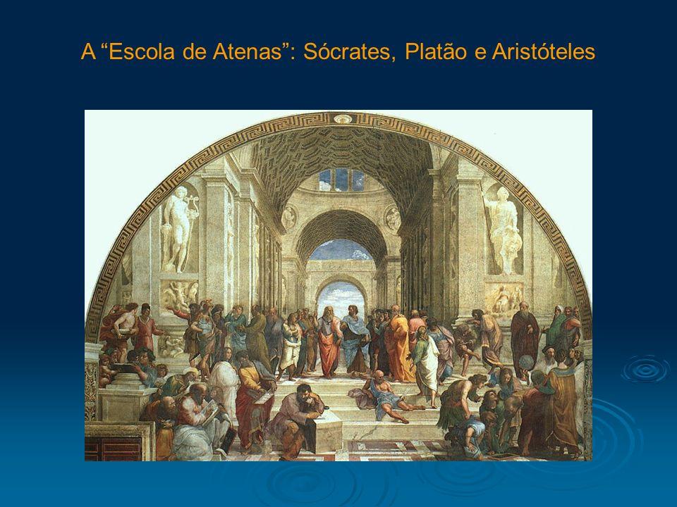 A Escola de Atenas: Sócrates, Platão e Aristóteles