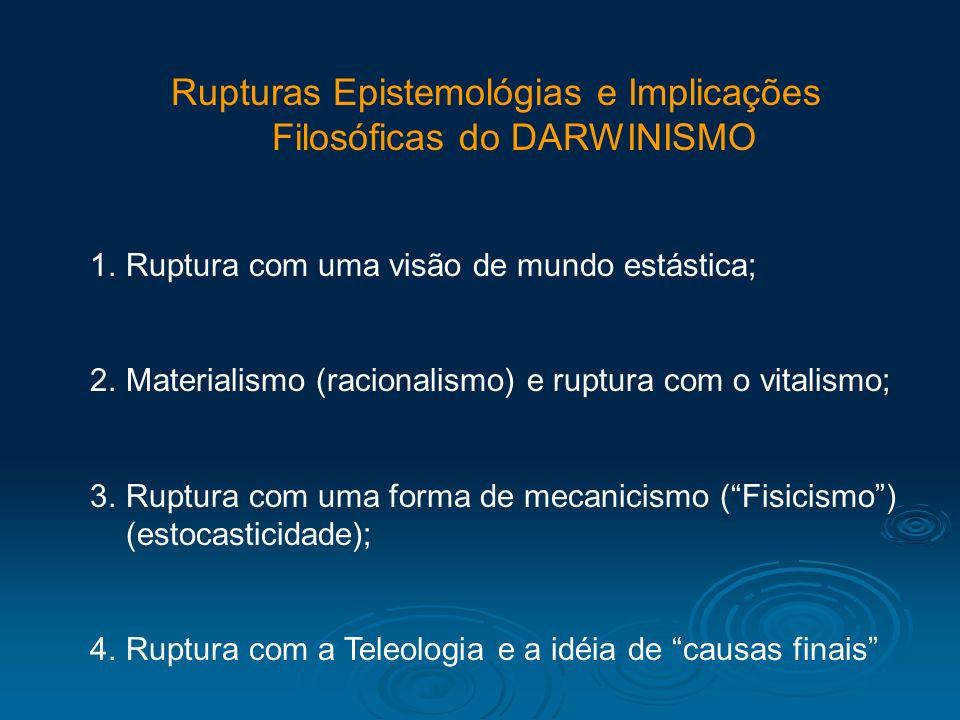 Rupturas Epistemológias e Implicações Filosóficas do DARWINISMO 1.Ruptura com uma visão de mundo estástica; 2.Materialismo (racionalismo) e ruptura co