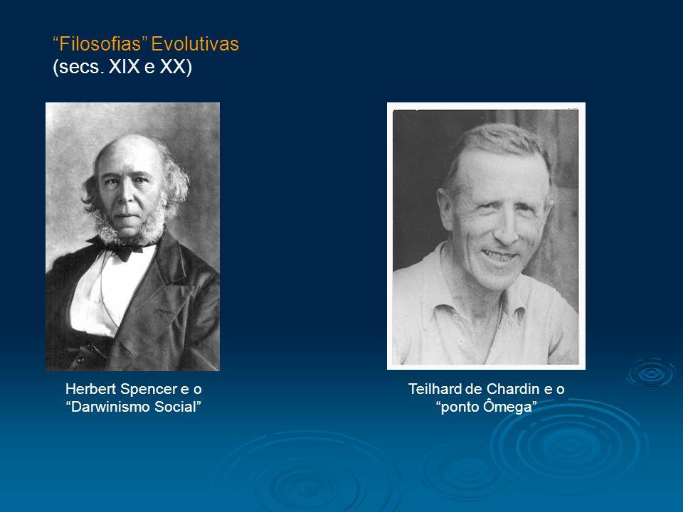 Herbert Spencer e o Darwinismo Social Teilhard de Chardin e o ponto Ômega Filosofias Evolutivas (secs. XIX e XX)