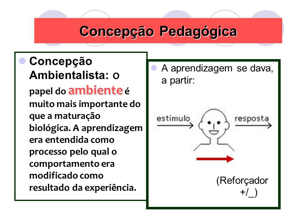 ambiente Concepção Ambientalista: O papel do ambiente é muito mais importante do que a maturação biológica.