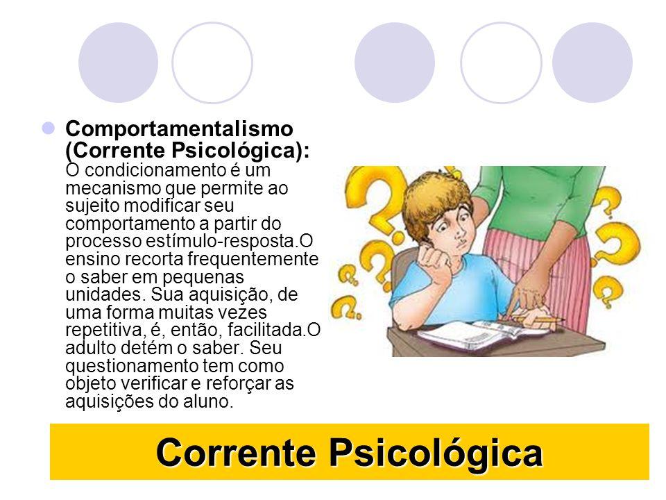 Corrente Psicológica Comportamentalismo (Corrente Psicológica): O condicionamento é um mecanismo que permite ao sujeito modificar seu comportamento a partir do processo estímulo-resposta.O ensino recorta frequentemente o saber em pequenas unidades.