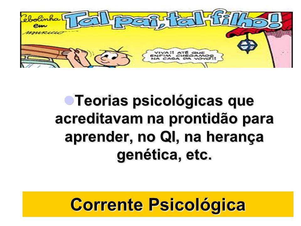 Teorias psicológicas que acreditavam na prontidão para aprender, no QI, na herança genética, etc.