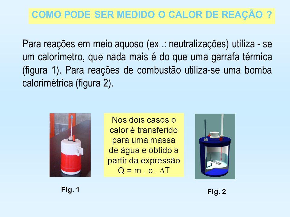 COMO PODE SER MEDIDO O CALOR DE REAÇÃO ? Para reações em meio aquoso (ex.: neutralizações) utiliza - se um calorímetro, que nada mais é do que uma gar