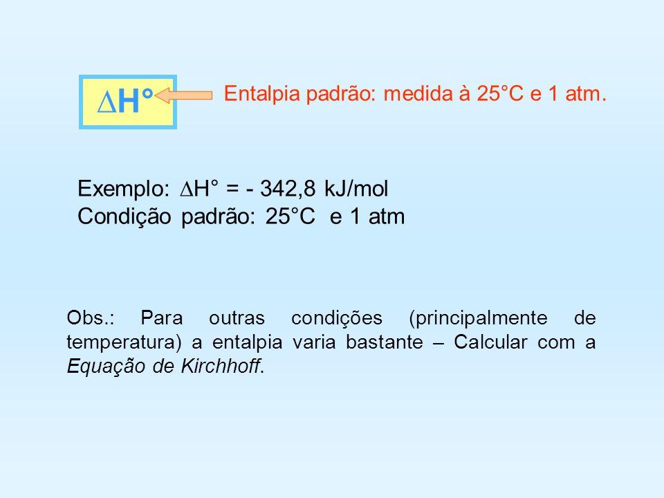 Exemplo: H° = - 342,8 kJ/mol Condição padrão: 25°C e 1 atm Obs.: Para outras condições (principalmente de temperatura) a entalpia varia bastante – Cal