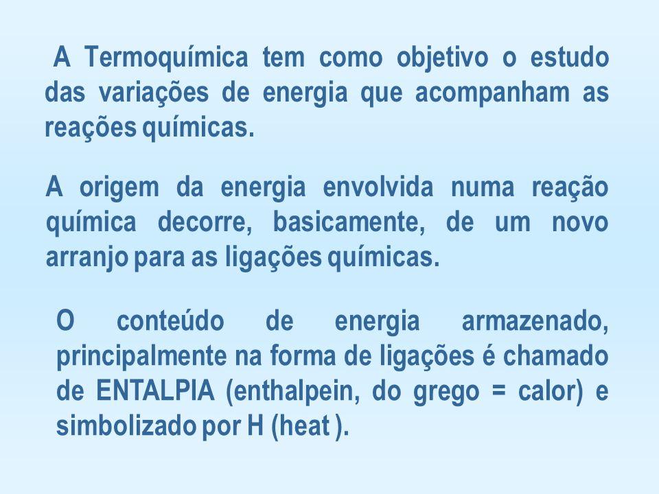 A Termoquímica tem como objetivo o estudo das variações de energia que acompanham as reações químicas. A origem da energia envolvida numa reação quími