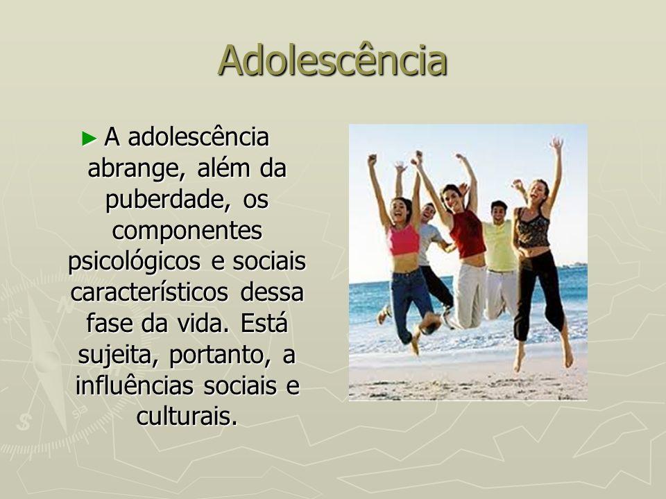 Adolescência A adolescência abrange, além da puberdade, os componentes psicológicos e sociais característicos dessa fase da vida. Está sujeita, portan