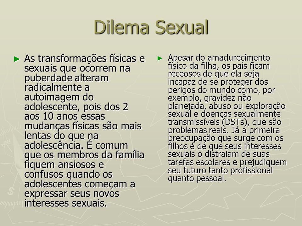 Dilema Sexual As transformações físicas e sexuais que ocorrem na puberdade alteram radicalmente a autoimagem do adolescente, pois dos 2 aos 10 anos es