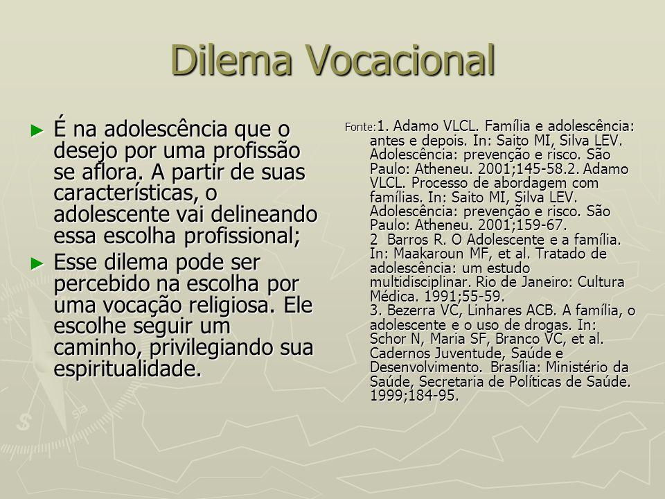 Dilema Vocacional É na adolescência que o desejo por uma profissão se aflora. A partir de suas características, o adolescente vai delineando essa esco