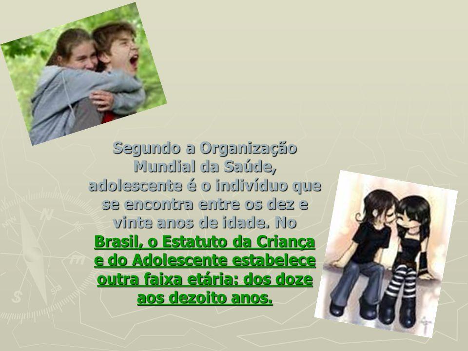 Segundo a Organização Mundial da Saúde, adolescente é o indivíduo que se encontra entre os dez e vinte anos de idade. No Brasil, o Estatuto da Criança