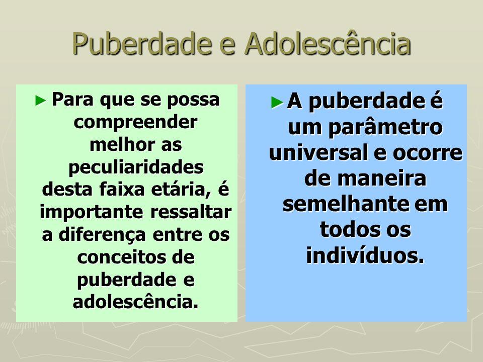 Puberdade e Adolescência Para que se possa compreender melhor as peculiaridades desta faixa etária, é importante ressaltar a diferença entre os concei