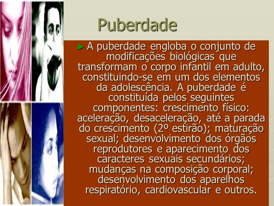 Puberdade A puberdade engloba o conjunto de modificações biológicas que transformam o corpo infantil em adulto, constituindo-se em um dos elementos da