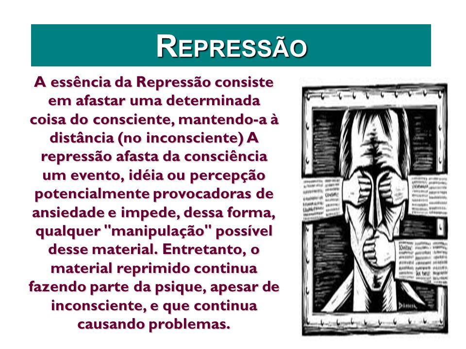A essência da Repressão consiste em afastar uma determinada coisa do consciente, mantendo-a à distância (no inconsciente) A repressão afasta da consci