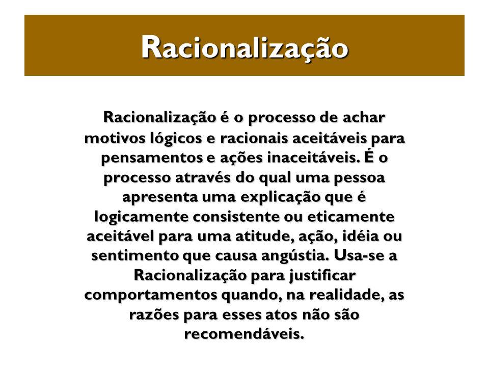 R acionalização Racionalização é o processo de achar motivos lógicos e racionais aceitáveis para pensamentos e ações inaceitáveis. É o processo atravé
