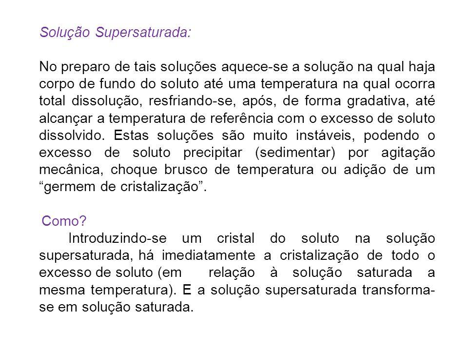 Solução Supersaturada: No preparo de tais soluções aquece-se a solução na qual haja corpo de fundo do soluto até uma temperatura na qual ocorra total