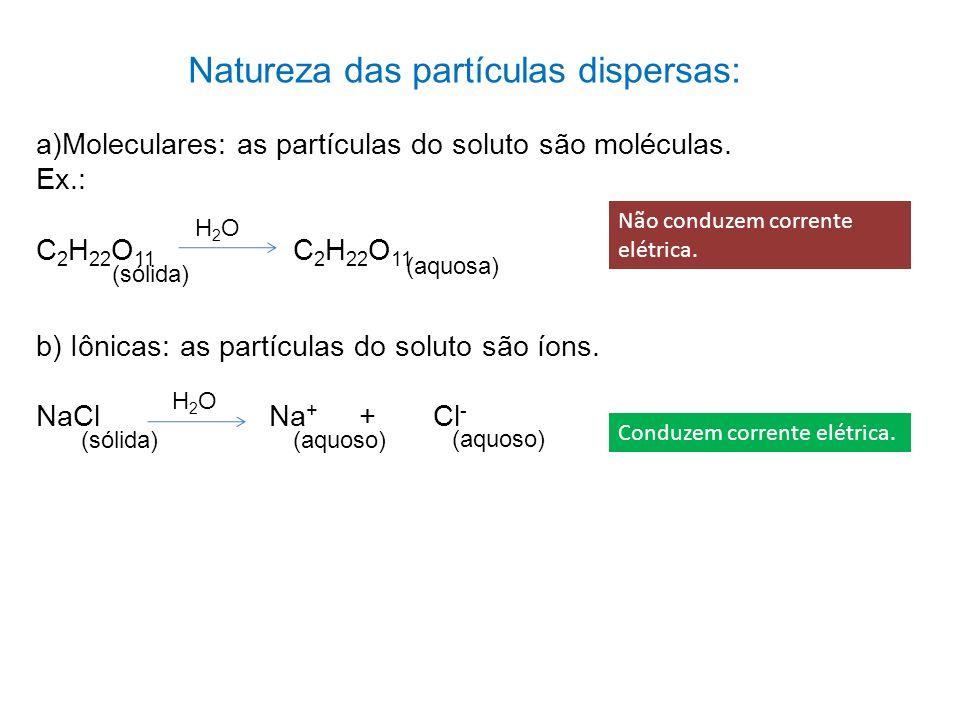 Natureza das partículas dispersas: a)Moleculares: as partículas do soluto são moléculas. Ex.: C 2 H 22 O 11 H2OH2O (sólida) (aquosa) b) Iônicas: as pa