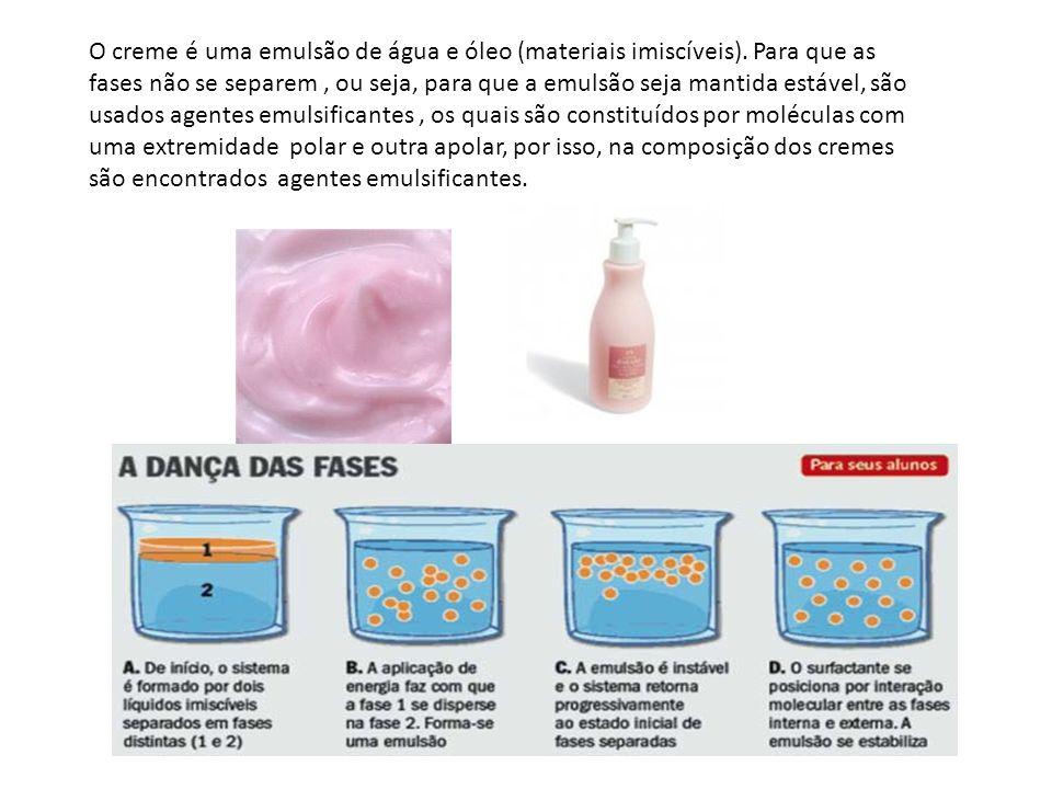 O creme é uma emulsão de água e óleo (materiais imiscíveis). Para que as fases não se separem, ou seja, para que a emulsão seja mantida estável, são u