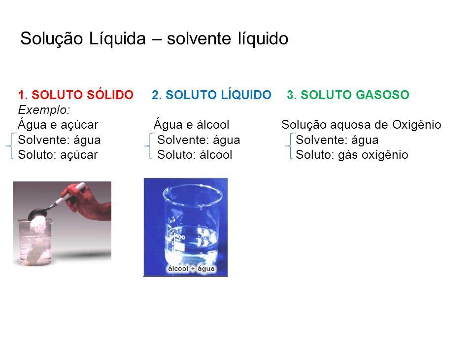 Solução Líquida – solvente líquido 1. SOLUTO SÓLIDO 2. SOLUTO LÍQUIDO 3. SOLUTO GASOSO Exemplo: Água e açúcar Água e álcool Solução aquosa de Oxigênio
