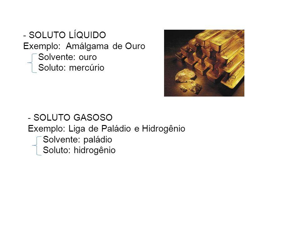 - SOLUTO LÍQUIDO Exemplo: Amálgama de Ouro Solvente: ouro Soluto: mercúrio - SOLUTO GASOSO Exemplo: Liga de Paládio e Hidrogênio Solvente: paládio Sol