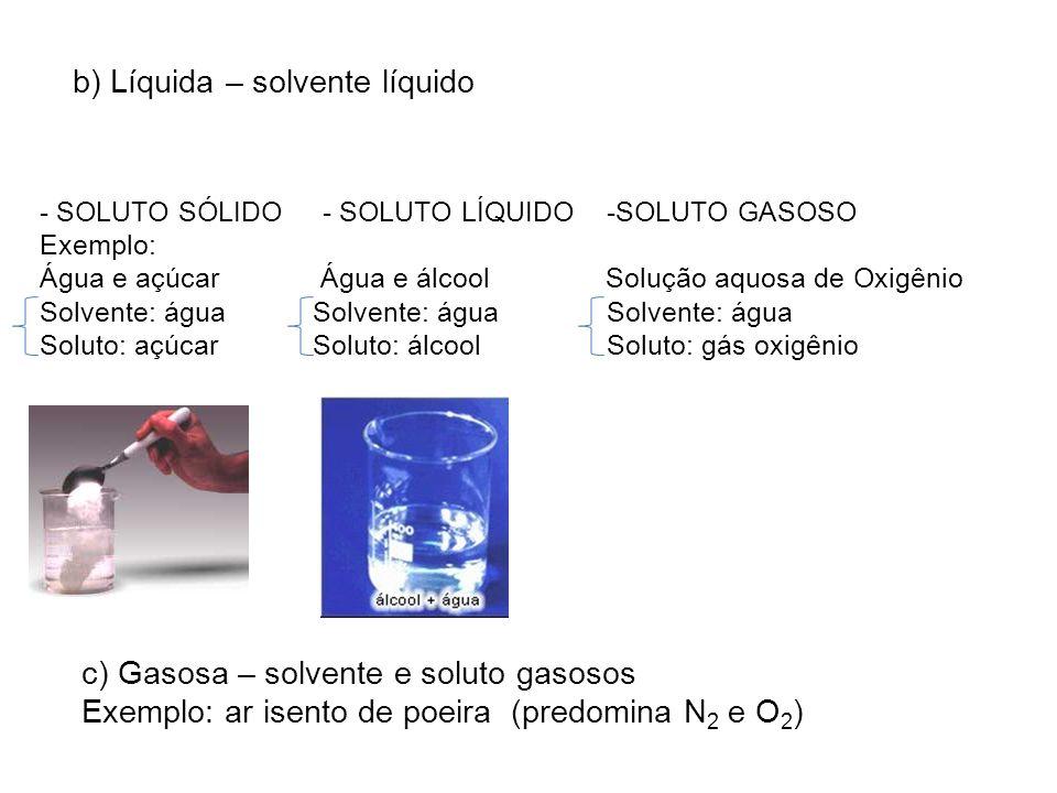 b) Líquida – solvente líquido - SOLUTO SÓLIDO - SOLUTO LÍQUIDO -SOLUTO GASOSO Exemplo: Água e açúcar Água e álcool Solução aquosa de Oxigênio Solvente