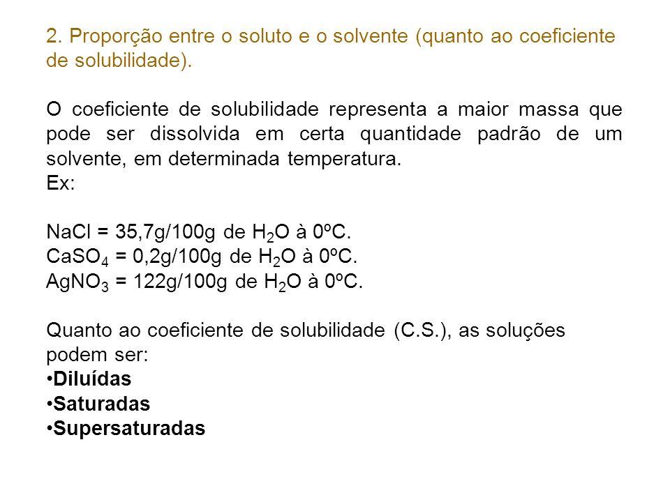 2. Proporção entre o soluto e o solvente (quanto ao coeficiente de solubilidade). O coeficiente de solubilidade representa a maior massa que pode ser