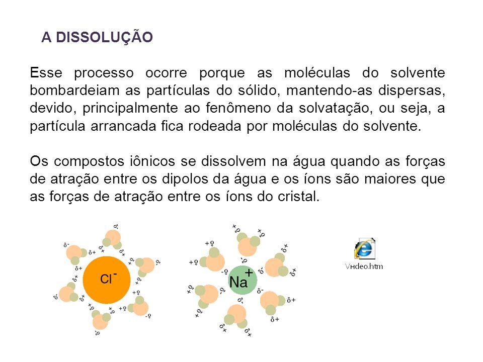 A DISSOLUÇÃO Esse processo ocorre porque as moléculas do solvente bombardeiam as partículas do sólido, mantendo-as dispersas, devido, principalmente a