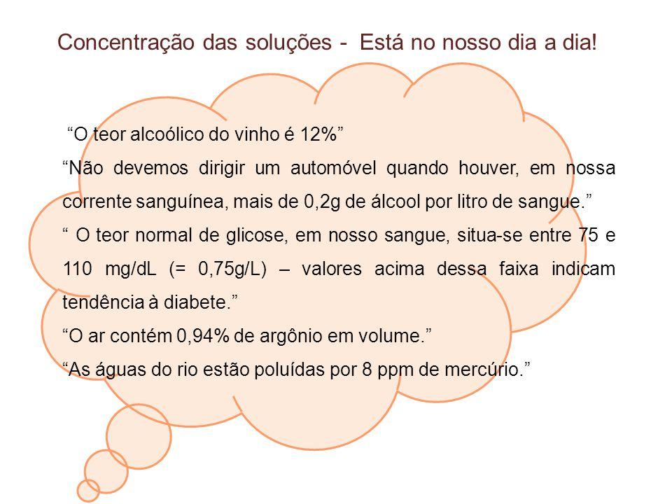 O teor alcoólico do vinho é 12% Não devemos dirigir um automóvel quando houver, em nossa corrente sanguínea, mais de 0,2g de álcool por litro de sangu