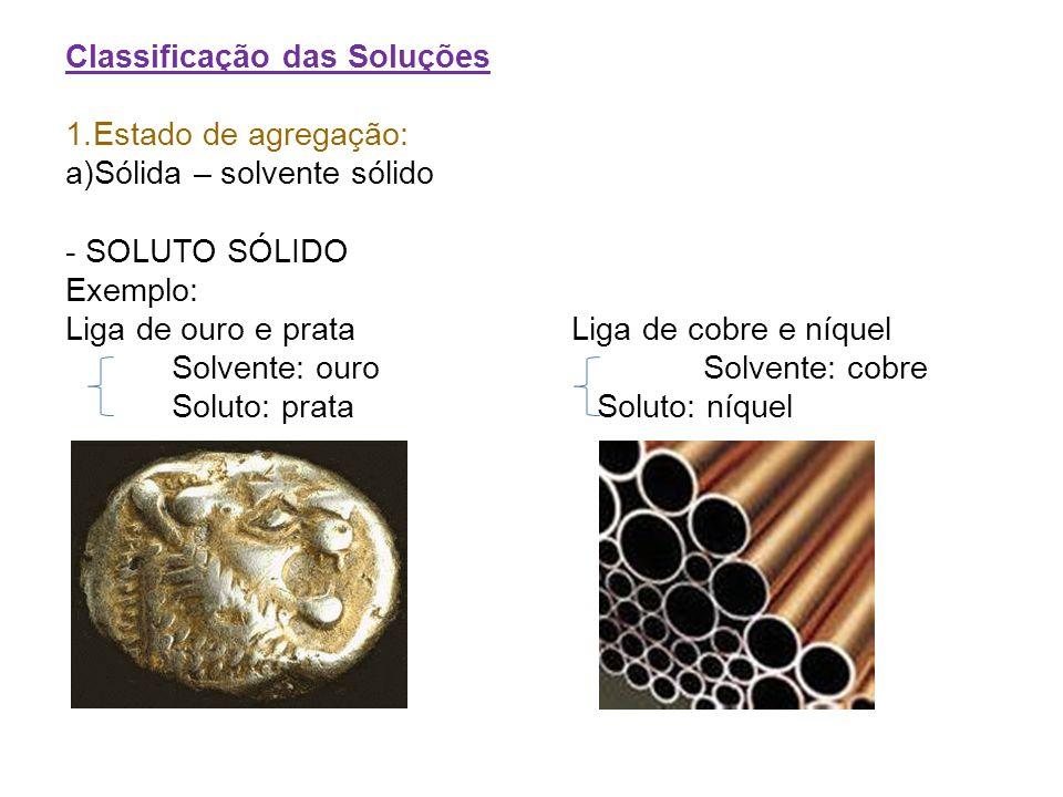 Classificação das Soluções 1.Estado de agregação: a)Sólida – solvente sólido - SOLUTO SÓLIDO Exemplo: Liga de ouro e prata Liga de cobre e níquel Solv