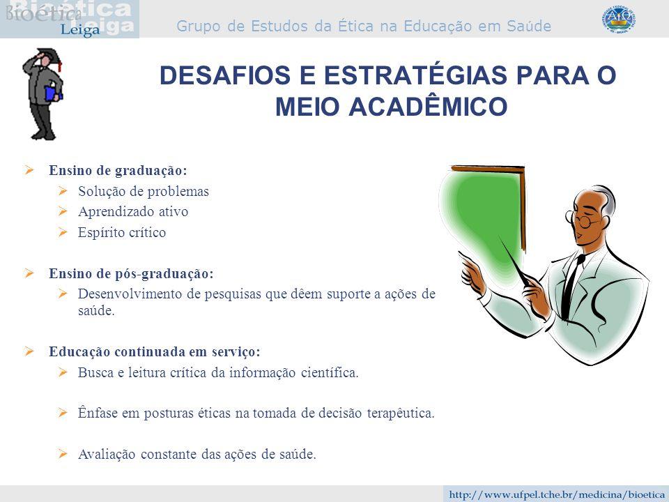 Grupo de Estudos da É tica na Educa çã o em Sa ú de DESAFIOS E ESTRATÉGIAS PARA O MEIO ACADÊMICO Ensino de graduação: Solução de problemas Aprendizado