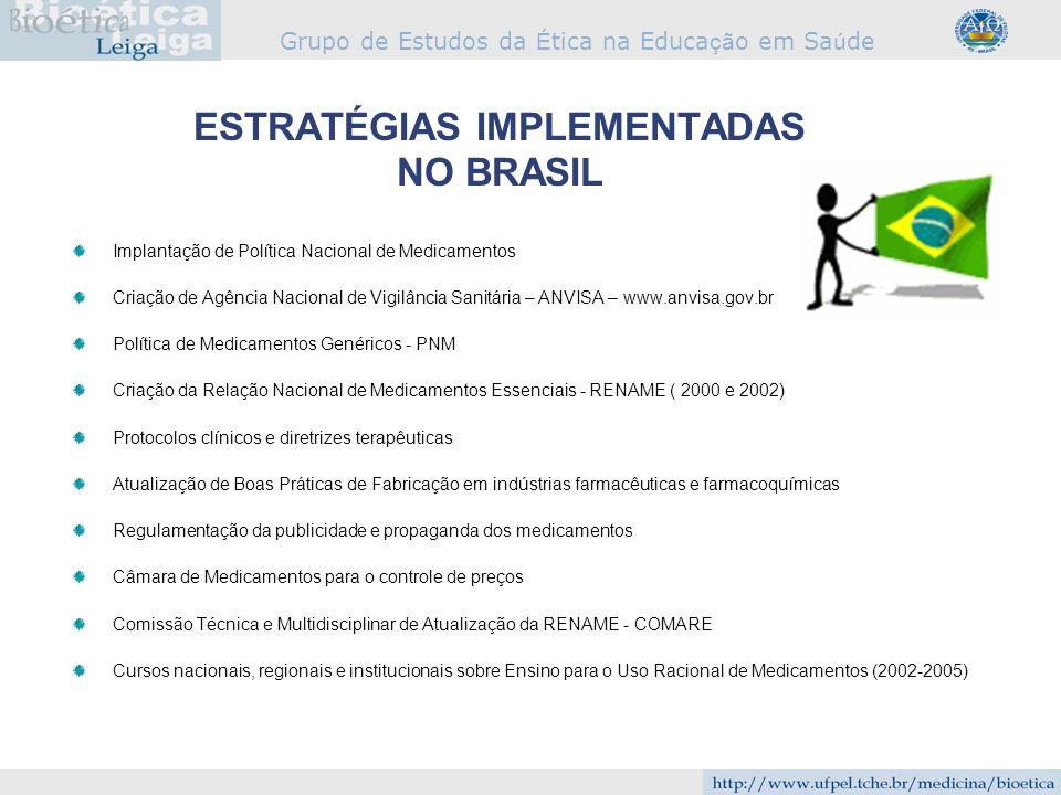 Grupo de Estudos da É tica na Educa çã o em Sa ú de ESTRATÉGIAS IMPLEMENTADAS NO BRASIL Implantação de Política Nacional de Medicamentos Criação de Ag