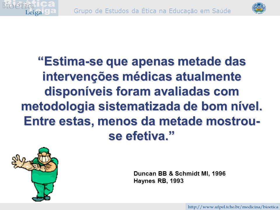 Grupo de Estudos da É tica na Educa çã o em Sa ú de Duncan BB & Schmidt MI, 1996 Haynes RB, 1993 Estima-se que apenas metade das intervenções médicas