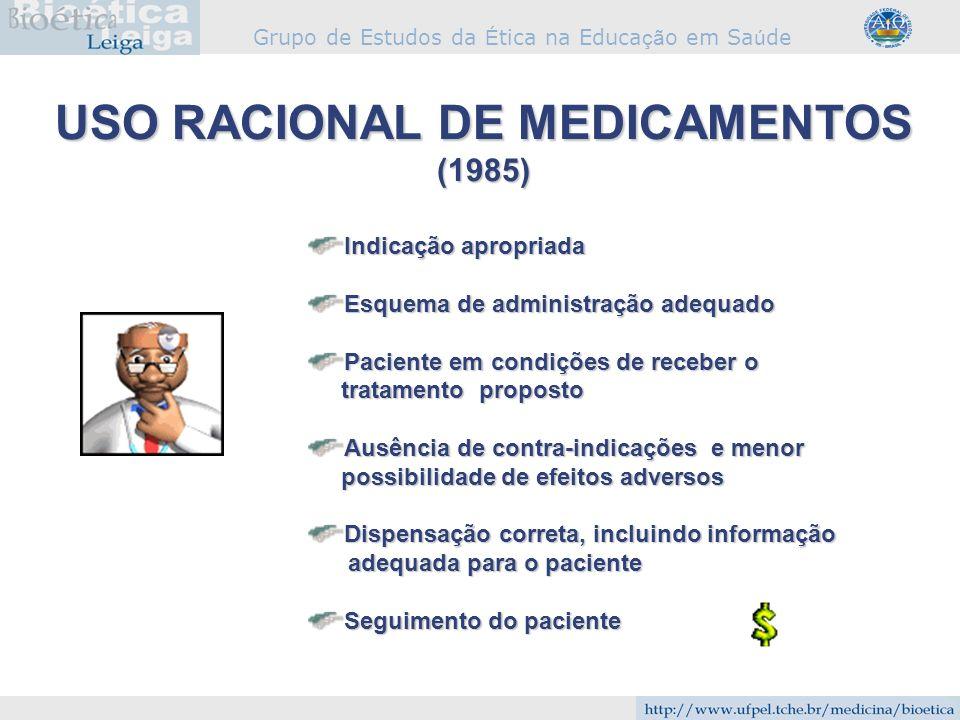 Grupo de Estudos da É tica na Educa çã o em Sa ú de Indicação apropriada Esquema de administração adequado Paciente em condições de receber o tratamen