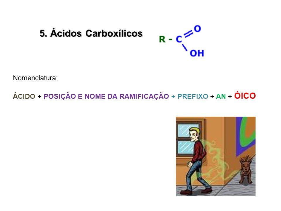 5. Ácidos Carboxílicos Nomenclatura: ÁCIDO + POSIÇÃO E NOME DA RAMIFICAÇÃO + PREFIXO + AN + ÓICO