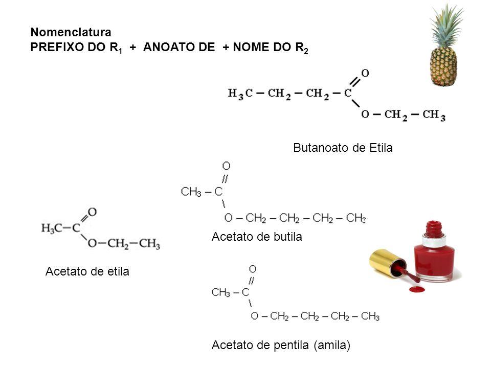 Butanoato de Etila Acetato de etila Acetato de butila Acetato de pentila (amila) Nomenclatura PREFIXO DO R 1 + ANOATO DE + NOME DO R 2
