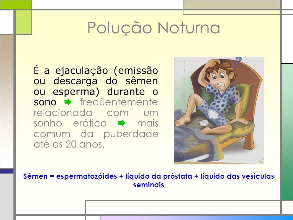 Polução Noturna É a ejacula ç ão (emissão ou descarga do sêmen ou esperma) durante o sono freqüentemente relacionada com um sonho erótico mais comum d