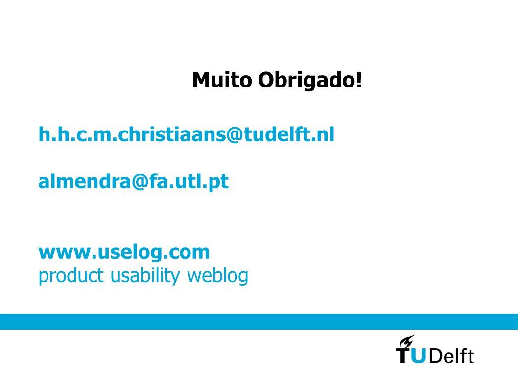 h.h.c.m.christiaans@tudelft.nl almendra@fa.utl.pt www.uselog.com product usability weblog Muito Obrigado!