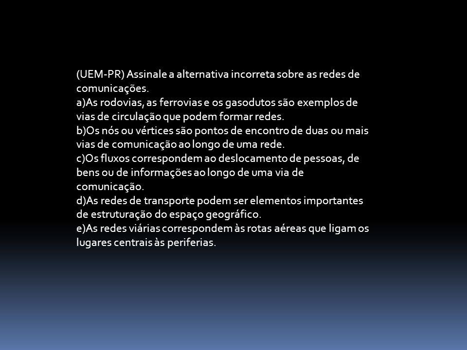 (UEM-PR) Assinale a alternativa incorreta sobre as redes de comunicações. a)As rodovias, as ferrovias e os gasodutos são exemplos de vias de circulaçã