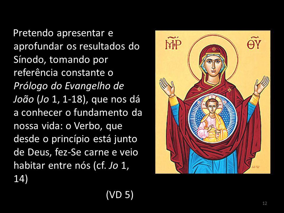 12 Pretendo apresentar e aprofundar os resultados do Sínodo, tomando por referência constante o Prólogo do Evangelho de João (Jo 1, 1-18), que nos dá