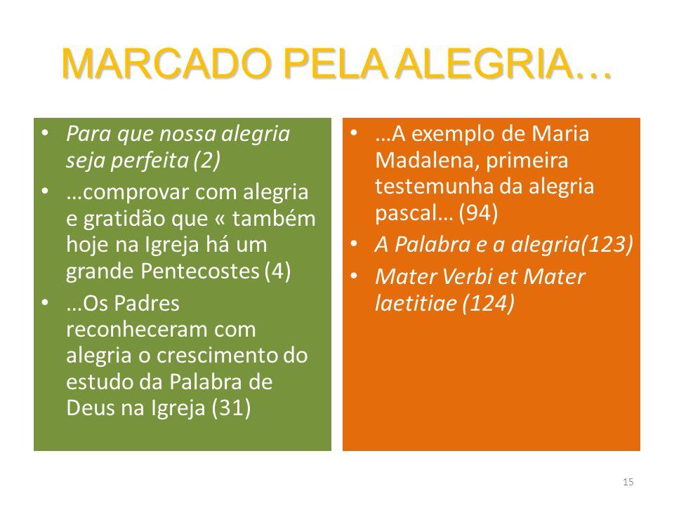 15 MARCADO PELA ALEGRIA… Para que nossa alegria seja perfeita (2) …comprovar com alegria e gratidão que « também hoje na Igreja há um grande Pentecost
