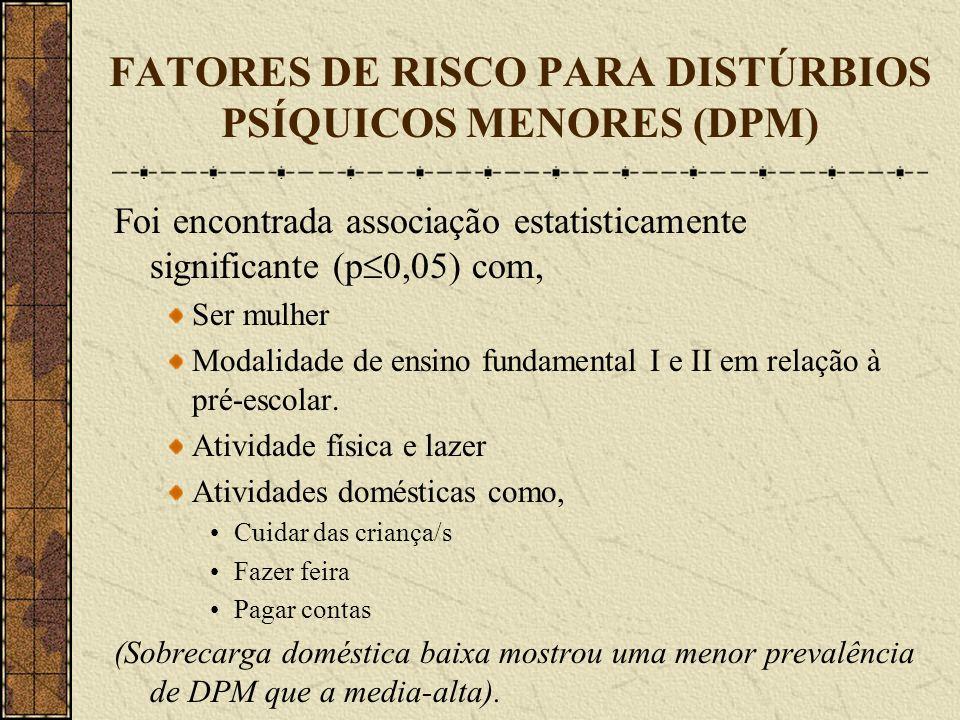 FATORES DE RISCO PARA DISTÚRBIOS PSÍQUICOS MENORES (DPM) Foi encontrada associação estatisticamente significante (p 0,05) com, Ser mulher Modalidade d