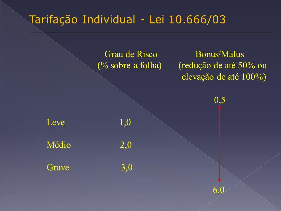 Tarifação Individual - Lei 10.666/03 Grau de Risco Bonus/Malus (% sobre a folha) (redução de até 50% ou elevação de até 100%) 0,5 Leve 1,0 Médio 2,0 Grave 3,0 6,0