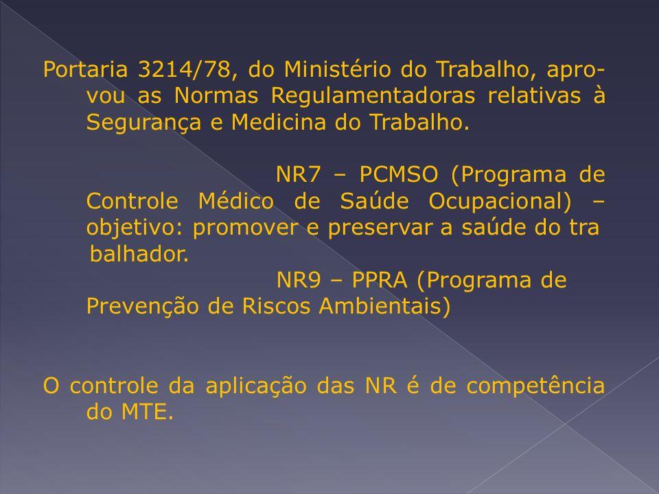 Portaria 3214/78, do Ministério do Trabalho, apro- vou as Normas Regulamentadoras relativas à Segurança e Medicina do Trabalho.