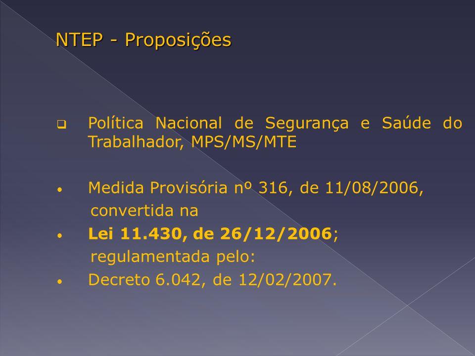 NTEP - Proposições Política Nacional de Segurança e Saúde do Trabalhador, MPS/MS/MTE Medida Provisória nº 316, de 11/08/2006, convertida na Lei 11.430, de 26/12/2006; regulamentada pelo: Decreto 6.042, de 12/02/2007.