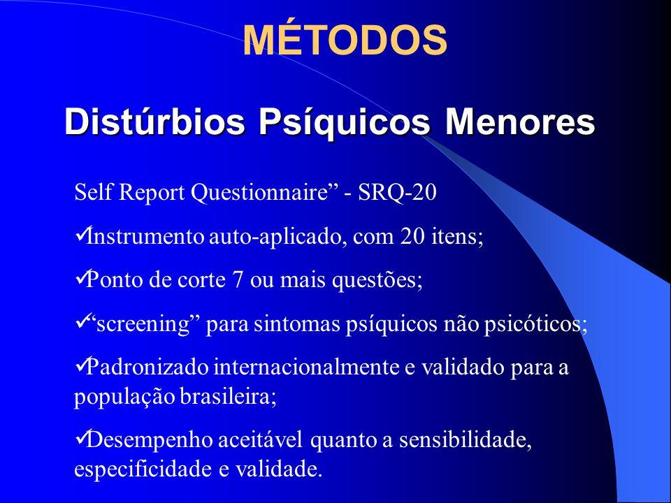 CANSAÇO MENTAL - NERVOSISMO Cansaço mental e nervosismo podem ser considerados respostas emocionais aos estresse (Begley, 1998) Cansaço mental: perda da capacidade potencial ou efetiva, corporal e psíquica (Laurell e Noriega, 1989) Nervosismo (irritabilidade) é uma manifestação psíquica que surge posteriormente ao estado de cansaço mental, que em última instância relaciona-se também ao processo de desgaste advindo do processo de trabalho (Seligmann-Silva, 1994) MÉTODOS