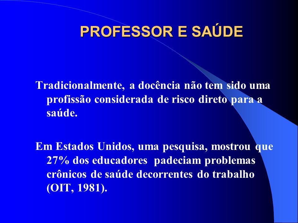 O Serviço Médico da Delegação de Educação do Governo Vasco (Espanha) mostrou que os problemas de saúde que mostraram mais dias de afastamento foram transtornos mentais, enfermidades osteomusculares, traumatismos e transtornos da fonação (Belandia, 2001).