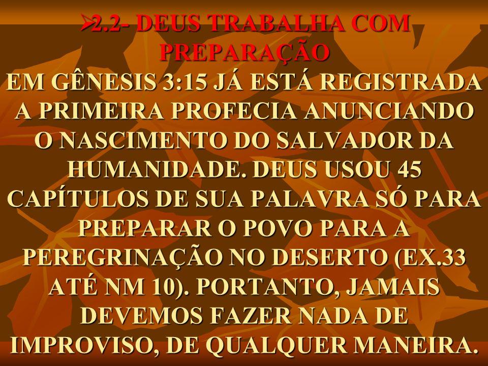 2.2- DEUS TRABALHA COM PREPARAÇÃO EM GÊNESIS 3:15 JÁ ESTÁ REGISTRADA A PRIMEIRA PROFECIA ANUNCIANDO O NASCIMENTO DO SALVADOR DA HUMANIDADE. DEUS USOU