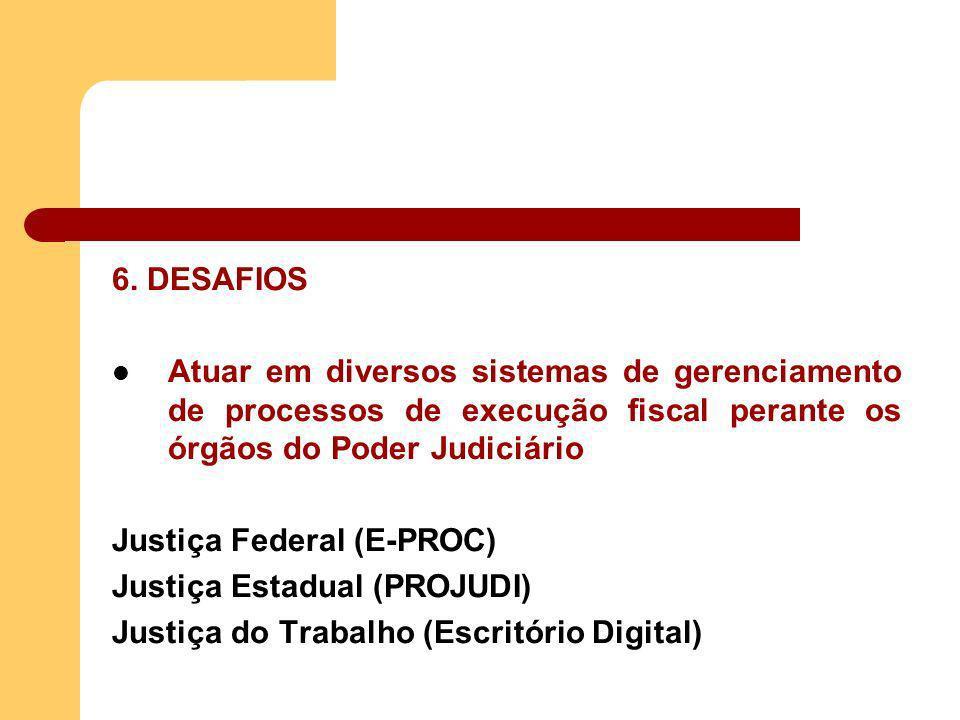6. DESAFIOS Atuar em diversos sistemas de gerenciamento de processos de execução fiscal perante os órgãos do Poder Judiciário Justiça Federal (E-PROC)