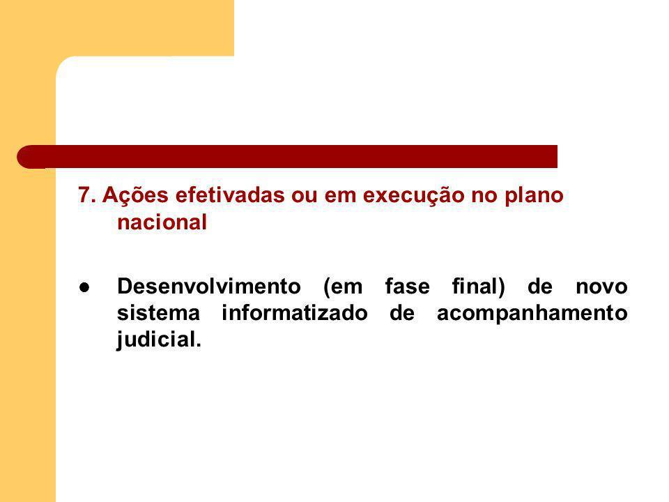 7. Ações efetivadas ou em execução no plano nacional Desenvolvimento (em fase final) de novo sistema informatizado de acompanhamento judicial.