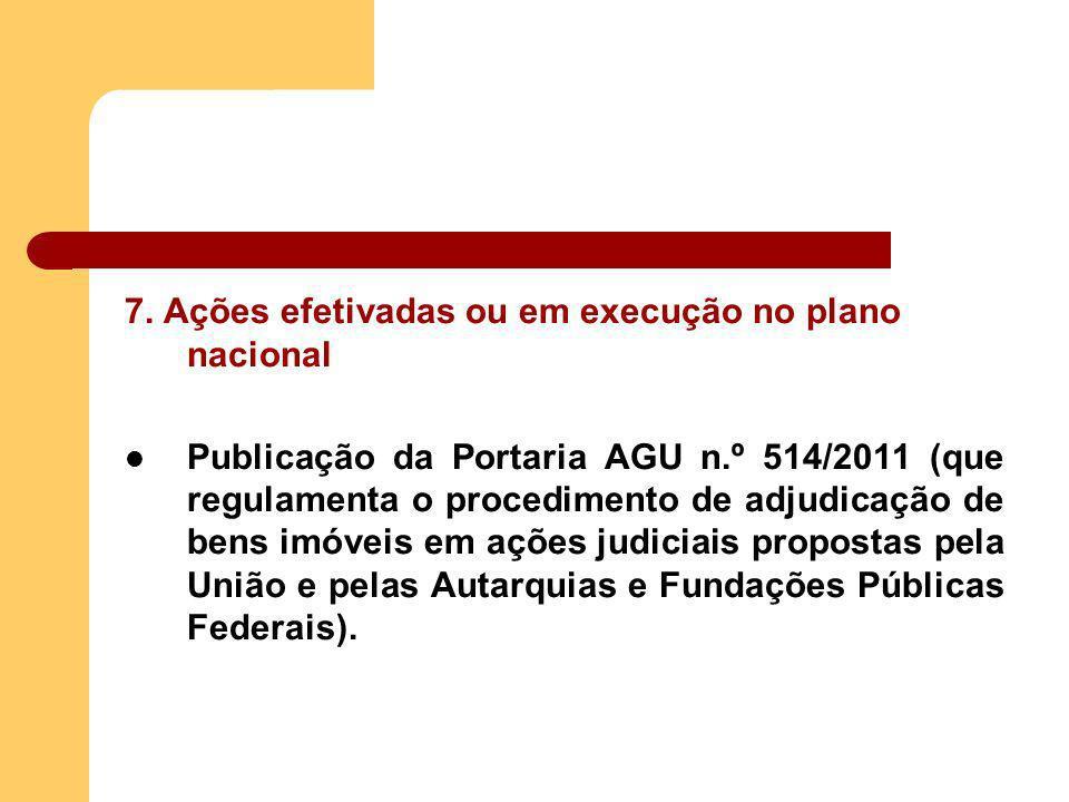 7. Ações efetivadas ou em execução no plano nacional Publicação da Portaria AGU n.º 514/2011 (que regulamenta o procedimento de adjudicação de bens im