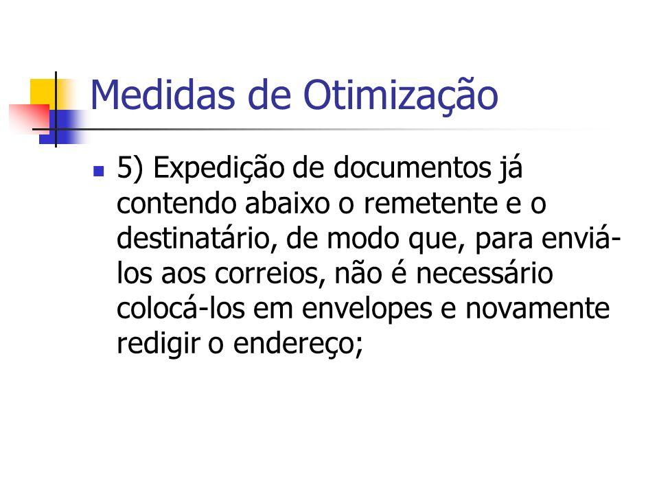Medidas de Otimização 5) Expedição de documentos já contendo abaixo o remetente e o destinatário, de modo que, para enviá- los aos correios, não é necessário colocá-los em envelopes e novamente redigir o endereço;